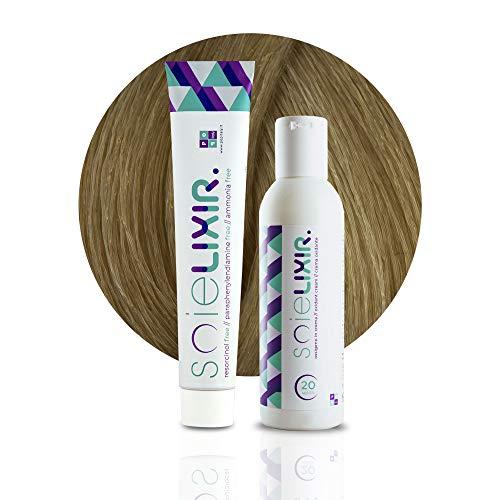 Soielixir - Tinte permanente para el cabello en crema sin resorcina, parafenilendiammina y amoniaco, 93 colores – 100 ml – Pack tinte + Oxígeno 10 vol. – 8/37 rubio claro dorado marrón)