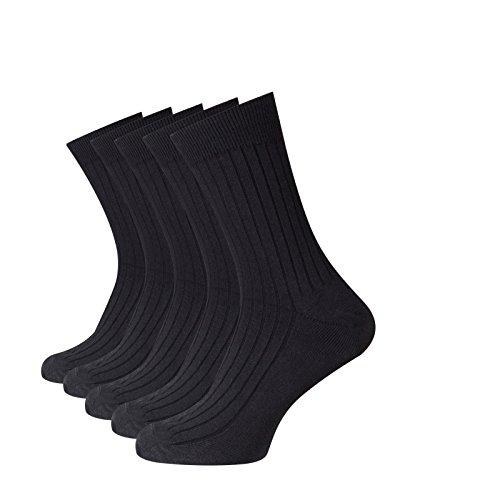 Beauty7 Kits 5 Pares Calcetines de Algodón Medios Largos Deportivos Transpirables Invierno Reforzados en Talón y Puntera para Hombre Talla EU 40-44, Negro