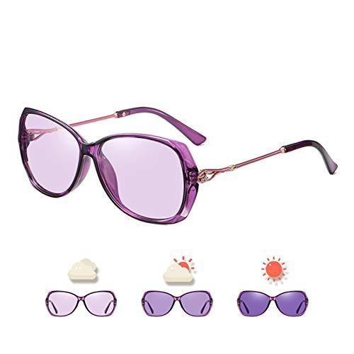 SCAYK Diseño de Moda Fotocrómica Gafas de Sol para Las Mujeres Gafas de Viaje polarizadas de Gran tamaño Damas de Lujo para Mujer Gafas de Sol Gafas de Ojos Gafas de Sol de Moda para Mujeres