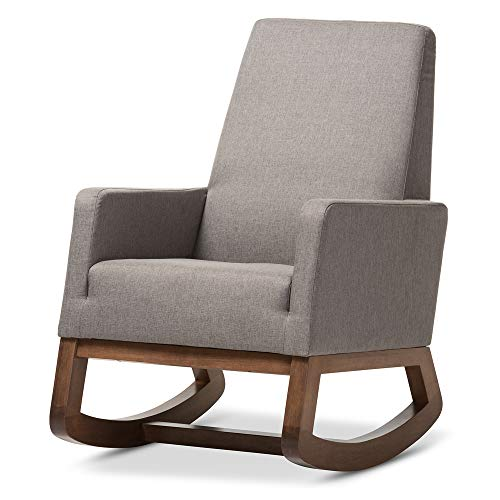 Baxton Studio Yashiya Mid Century Retro Modern Fabric Upholstered Rocking Chair,...