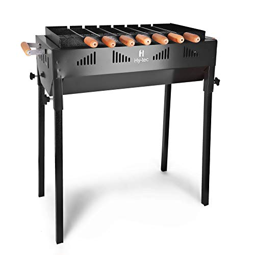 H Hy-tec (Device) HYBB-06 Terrace Garden Barbeque Grill with 7 Skewers (Black)