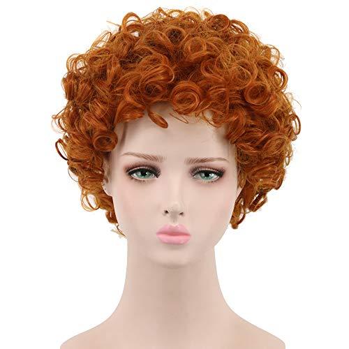 Yuehong Adult Cosplay Wig Short Wavy Orange Full Wig Party Halloween Costume Wig