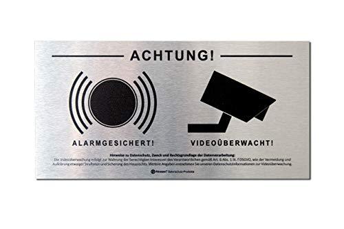 DSGVO+BDSG Datenschutz-Schild ALU Info-Aushang Video-Überwachung Alarm-Gesichert 10x20cm Aluminium gebürstet