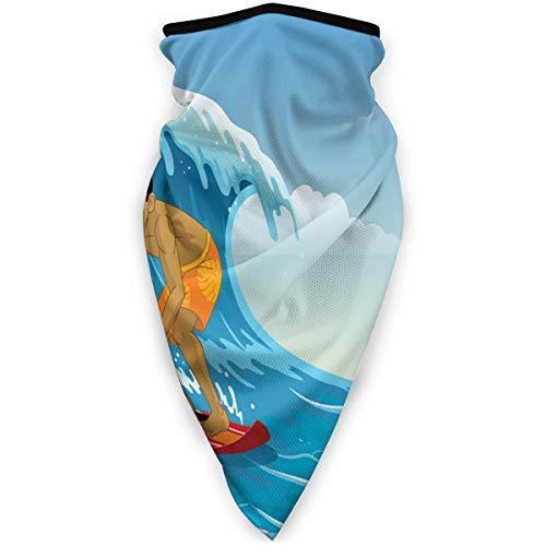 hdyefe Winddicht Surfer-Spielen-surfen-auf-WellenNackenschutzgamaschen Warmer winddichter Schal Outdoor-Sport-Kopftuch