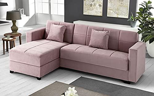 Sofá cama esquinero de 2 plazas – Tejido maya light pink – chaise longue izquierda – (225 x 158 x 86 cm)