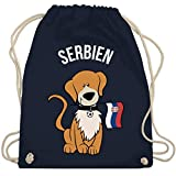 Shirtracer Fußball-Europameisterschaft 2020 Kinder - Fußball Serbien Hund - Unisize - Navy Blau -...