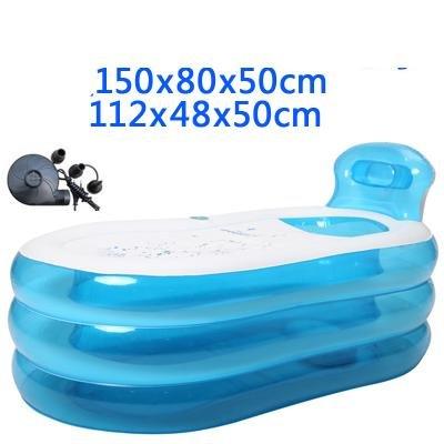 Baignoire Gonflable Taille Adulte Portable Home Spa Baignoire Confortable Qualité - 255 litres nouveau modèle et fermeture à glissière plus forte , blue , 150cm