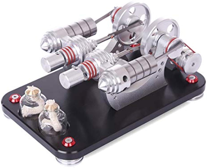 Batop Stirlingmotor Bausatz 2-Zylinder Parallel Stiefelfhig Motor Stirling Engine Kit DIY Stirlingmotor Modell, Physik Unterricht Spielzeug