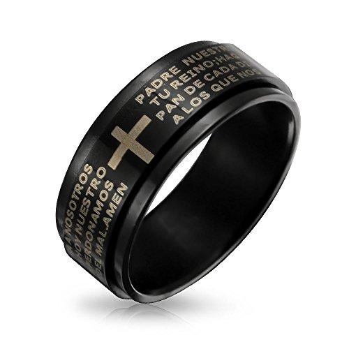 Bling Jewelry Padre Nuestro Religioso Hombre Lords Orar Cruz Spinner Banda Negra Anillo para Hombres Y para Mujer De Acero Inoxidable