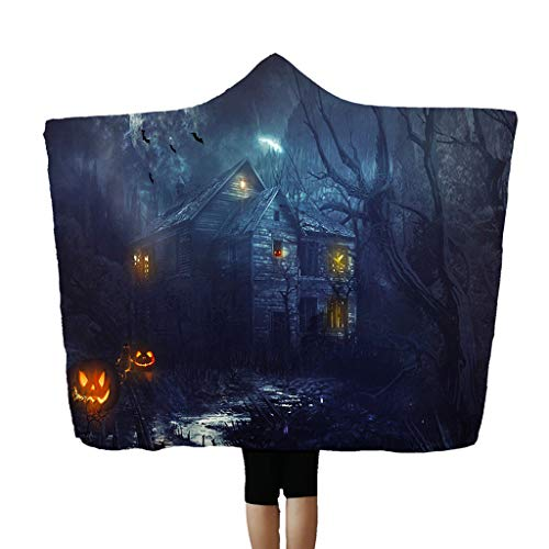 Alisy Halloween Hooded Blanket, Cloak Nap Wearing Air Conditioning Pumpkin Bat Blood Hand Black House Witch Pattern Wearable Throw Blankets for Adult Kids, 59'x 78.7'