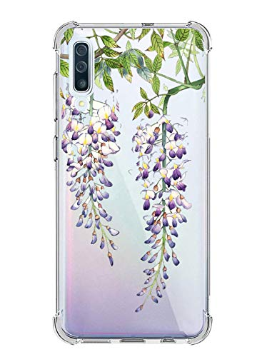 Suhctup Coque Comaptible avec Galaxy A9 Star Lite Étui Houssee,Transparent Motif Fleur [Antichoc Protection des Coins] Crystal Souple Silicone TPU Bumper Case Cover pour Galaxy A6 Plus,A12