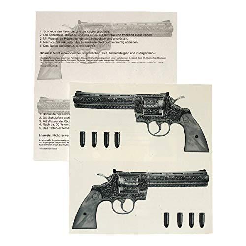 4 x Gun Tattoo - 4 Guns Tattoo - Gangster Revolver Tattoo (4)