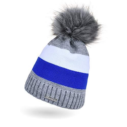 Neverless - Gorro de punto para mujer, diseño de rayas 2018 gris-azul-blanco Talla única