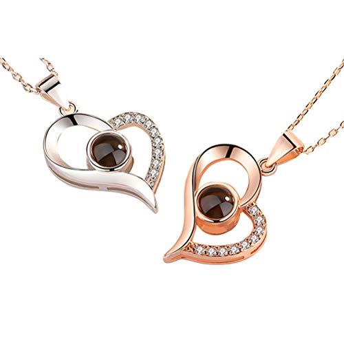 Eksesor Collar de Mujer, 925 Collar con Colgante de corazón de Plata para Mujer Joyas, Collar de proyección I Love You de 100 Idiomas, para Recuerdos amorosos