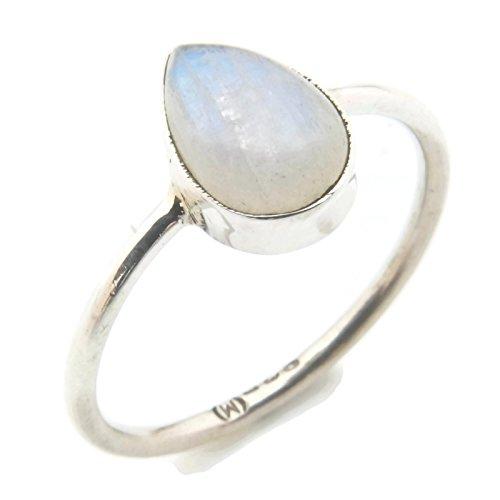 Anillo de plata de ley 925 Piedra de luna (No: MRI 101), Ringgröße:54 mm/Ø 17.2 mm