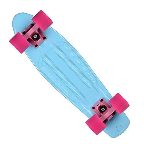 Yany 22 Zoll Komplettes Skateboard Plastik Mini Cruiser Retro Longboards Skateboard für Erwachsene Anfänger Mädchen Jungen,Blau