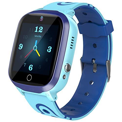 Kids Smart Watch for Boys Smartwatch WiFi/GPS Tracker Watch, Kids GPS Tracker Watch Activity Tracker Digital Watch, Touch Screen HD Camera SOS Math Game Watch for 4-12 Years Boys Girls Gift (Blue)