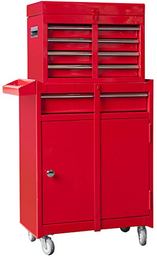 TCE ATBT1204T-RED Torin Rolling Garage Workshop Tool Organizer: Detachable 4 Drawer Tool Chest with Large Storage Cabinet and Adjustable Shelf, Red