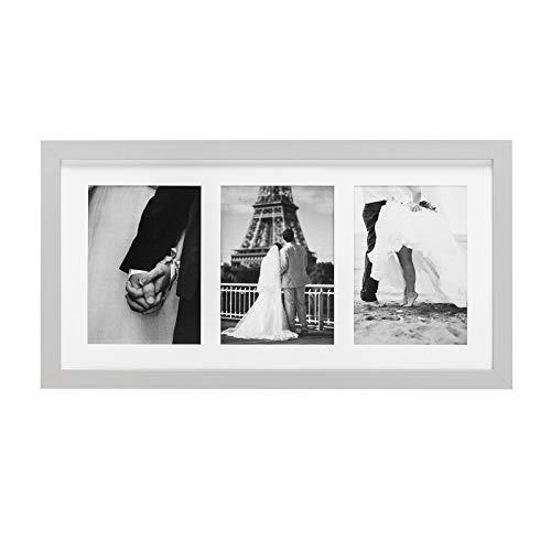 WOLTU Bilderrahmen Fotorahmen Holzrahmen, Galerie für 3 Fotos (3x 10x15 cm) mit Papier-Passepartout, aus MDF Platte, BR9685sb