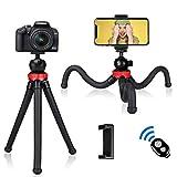 Trípode para teléfono, trípode de Viaje Flexible para cámara con Obturador Remoto Bluetooth y rotación de 360 °, Soporte para trípode portátil para cámara GoPro y pequeña, teléfono Inteligente