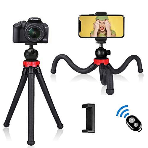 Handy Stativ, Flexibel Tripod Dreibein Kamera Stativ Ständer mit Handy Halterung und Bluetooth Fernbedienung für iPhone, Kamera, Samsung, GoPro, Huawei, Sony und jedes Smartphone