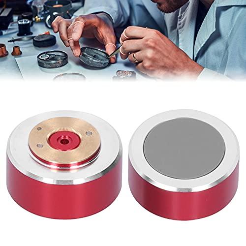 Aoca Strumento di Riparazione dell'orologio, Supporto per Movimento dell'orologio da 1,2 Pollici in Acciaio Legato Portatile per la Riparazione di Orologi Watch(Red)