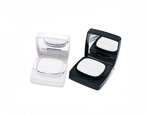 15ml 0.5oz Empty Compact Portable Make-up Powder Container Air Cushion Puff Case with Powder Puff and Mirror Quadrate Foundation BB Cream Box (Black)