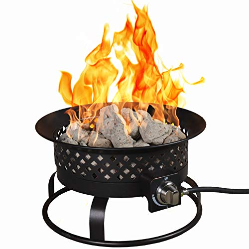 """Bond Manufacturing 67836 54,000 BTU Aurora Camping, Backyard, Tailgating, Hunting and Patio. Locking Lid & Carry Handle Portable Steel Propane Gas Fire Pit Outdoor Firebowl, 18.5"""", Bronze"""
