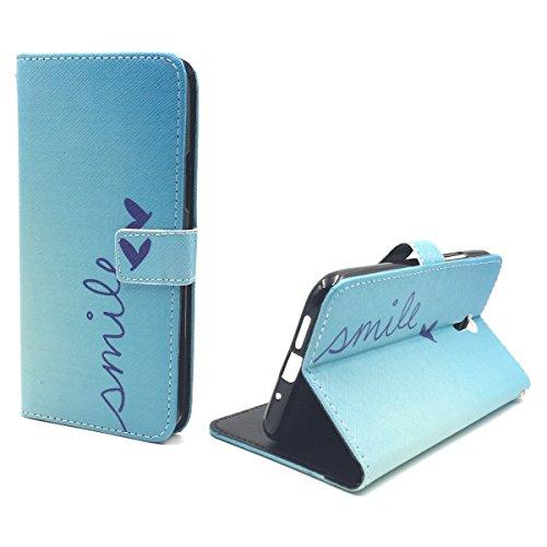 König Design Handyhülle Kompatibel mit Lenovo ZUK Z1 Handytasche Schutzhülle Tasche Flip Hülle mit Kreditkartenfächern - Smile Blau