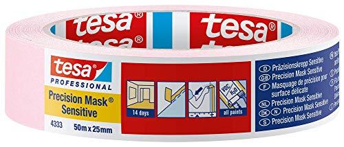 Tesa - Cinta de carrocero para superficies delicadas, Rosa suav, (50 m x 25 mm, para interiores)