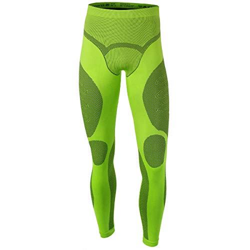 noorsk Da uomo termica base Layer leggings pantaloni termici di alta qualità senza cuciture in microfibra, Lime