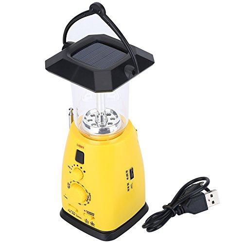 Alomejor d'urgence Radio Manivelle de Camping à énergie Solaire LED Lampe de Poche, Lampe Torche d'urgence avec Radio AM/FM Chargeur de téléphone