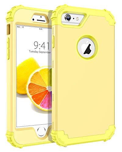 BENTOBEN iPhone 6S Case, iPhone 6 Case, 3 in 1 Heavy Duty Rugged Hybrid Hard PC Soft Silicone Bumper Shockproof Non-Slip Protective Case Cover for Apple iPhone 6S/iPhone 6 (4.7 Inch), Yellow Lemon