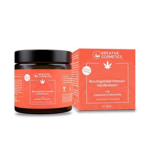 Beruhigende CBD Creme für Muskeln & Gelenke | schmerzlindernde HANF Gelenk Salbe/Balsam mit wertvollem CBD Hanfextrakt, wärmendem BIO Chilli Extrakt (Capsaicin) und Rosmarin | 50ml | vegan 500mg CBD