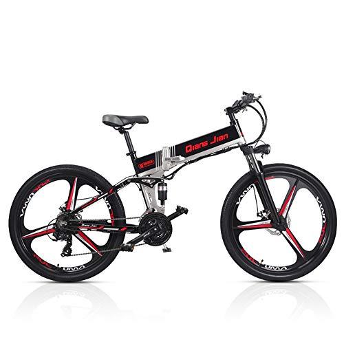 TYT Bicicletta Pieghevole M80 21 Velocità 48V * 350W 26 Pollici Mountain Bike Elettrica Doppia Sospensione con Display Lcd 5 Pedal Assist (White-Sw, 10.4A),Nero-Iw, 12,8A