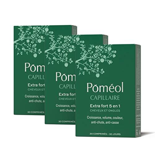 Poméol ǀ Complément alimentaire cheveux et ongles ǀ 90 jours ǀ Keratine, Biotine, Zinc ǀ Croissance, Pousse, Volume, Couleur, Anti-chute, Anti-casse ǀ Capillaire Extra Fort