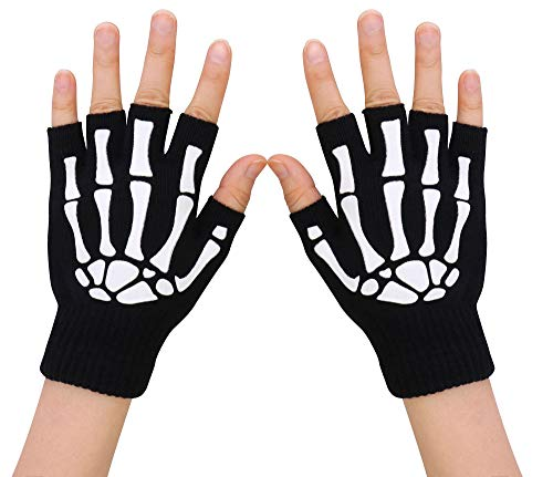Simplicity Unisex Half Finger Skeleton Pattern Glow in the Dark Knit Gloves