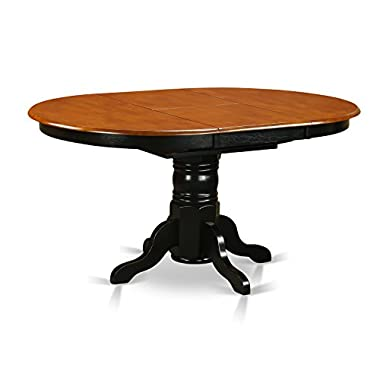 East West Furniture AVT-BLK-TP Oval Table with 18-Inch Butterfly Leaf, Black/Cherry Finish