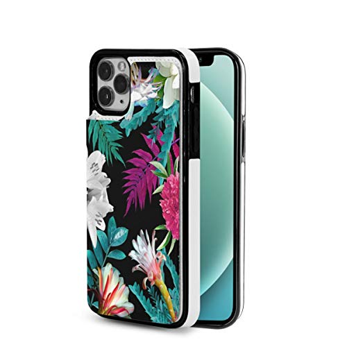 iPhone 12 Case Best Floral Tulip Pattern Wallet Case with Card Holder Slots TPU+PU Leather Designed for Iphone12 Pro Max-6.7 2020 Premium Cell Phone Cover Wireless Charging