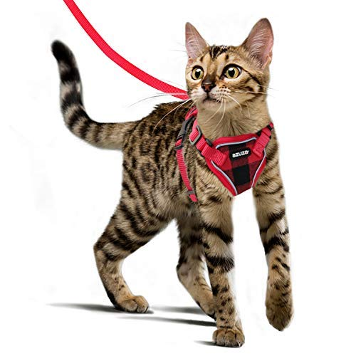 azuza Cat Harness and Leash for Walking Escape Proof, Reflective Cat Harness for Average Adult Cats, Soft & Breathable Vest Cat Harness, Buffalo Plaid