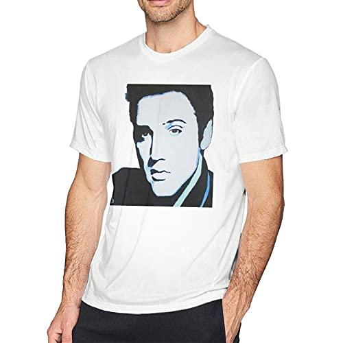 IUBBKI Camiseta Estampada de Manga Corta de algodón de Elvis Fashion para Hombre, Color Blanco