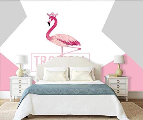 Papel Pintado 3D Corona Geométrica Flamenco Inglés Fotomurales Salón Dormitorio Despacho Pasillo Decoración Murales Paredes 430cmX300cm