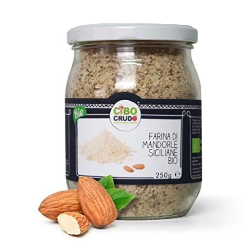 Cibocrudo Farina di Mandorle Cruda Bio, Naturalmente Senza Glutine, con Valori Nutrizionali di Elevato Profilo, Perfetta per Eseguire Ricette Dolci, Torte e Biscotti – 250 gr