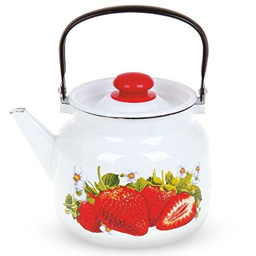 Wasserkessel mit Deckel - Erdbeere, emailliert, weiß, 3,5 Liter