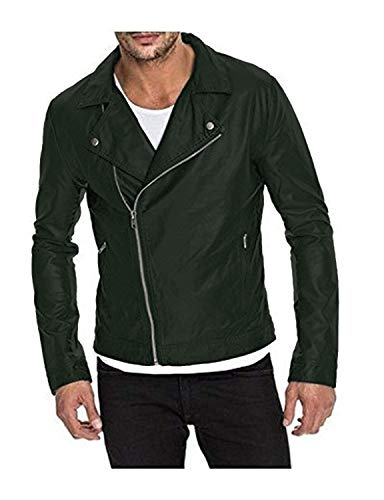 Laverapelle Men's Genuine Lambskin Leather Jacket (Green, Small, Polyester Lining) - 1501453