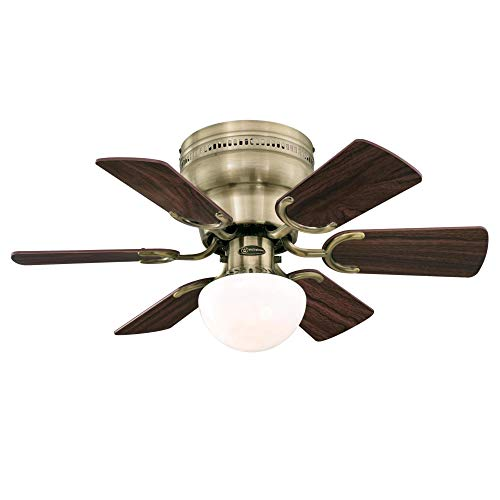 Westinghouse Lighting 7231700 Petite Indoor Ceiling Fan with Light, 30 Inch, Antique Brass