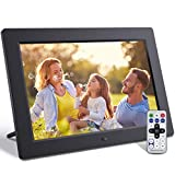 Jeemak Digital Photo Frame 10.1 Inch with Remote Control IPS Screen Photo Music Video Slide Show Auto Rotate Calendar Support USB and SD Card (Up to 64G)