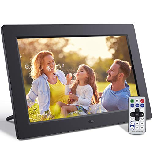 Jeemak Digital Picture Frame 10.1 Inch Digital Frame with Remote Control IPS Screen Photo Music 1080P Video Slide Show Calendar Clock Support USB and SD Card (64GB