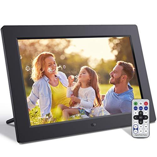 Jeemak - Cornice digitale da 10,1 pollici con telecomando, schermo IPS per foto e musica, 1080p, funzione di rotazione automatica del calendario, supp