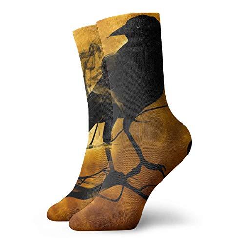 Generic Halloween-Krähen-Männer druckten lustige Neuheit-beiläufige Mannschafts-Kleid-Socken für Frauen/Unisex 19.7 Zoll